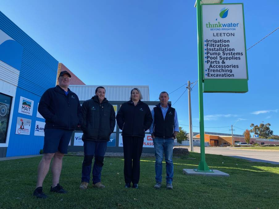 HERE TO HELP: Think Water Leeton staff members Brendon Townsend, Ben Boots, Jennifer Corona and Pat Currie are happy to assist with all inquiries big and small. Photo: Talia Pattison