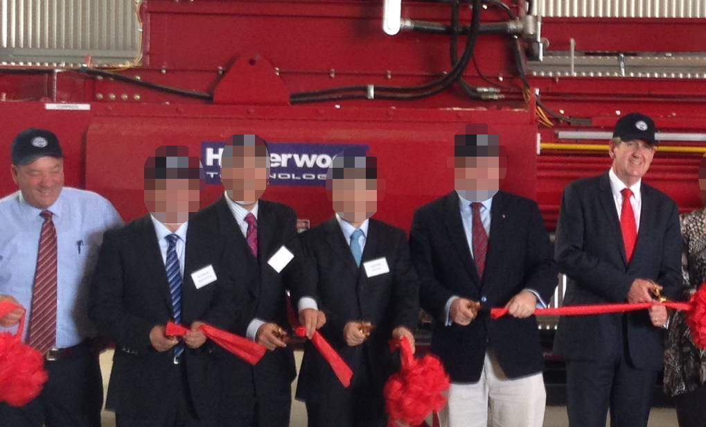 NEW ROLE: Then-Wagga MP Daryl Maguire (left) and then-NSW Premier Barry O'Farrell (right) officially open UWE Hay at Wumbulgal, 25 kilometres west of Leeton, in 2015. ICAC heard yesterday that UWE offered Mr Maguire a board position after he planned to retire at the 2019 election. Picture: The Irrigator